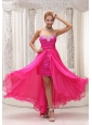 Hot Pink Beaded Decorate Sweetheart Neckline Detachable Chiffon and Sequin Prom / Evening Dress For Formal Evening