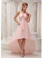 Light Pink Beautiful High-low Bridesmaid Dress For 2013 Ruched Bodice Bowknot With Beading Chiffon