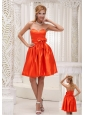 Lovely Orange Red Bridesmaid Dress For 2013 Bowknot On Taffeta Beaded Decorate Bust