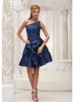 Modest Navy Blue Homecoming / Cocktail Dress For 2013 One Shoulder Knee-length Gown