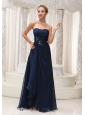 Modest Strapless Navy Blue Chiffon For Bridesmaid Dress Beaded Decorate Waist