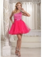 One Shoulder Beaded Decorate Bust Sweet Prom / Cocktail Dress With Hot Pink In Texas