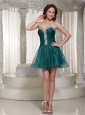Organza Peacock Green Homecoming Dress With Rhinestones Custom Made