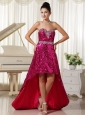 Paillette Over Skirt With Beautiful Sweetheart High-low Party Evening Dress