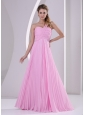 Pink One Shoulder Pleat Chiffon Empire Brush Train Bridesmaid Dress For Wedding Party