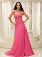 Rose Pink Sweetheart Ruched Bodice Satin Appliques For Bridesmaid Dress