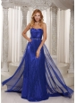 Royal Blue Paillette Over Skirt Sheath Sweetheart Stylish Evening Dress With Chiffon