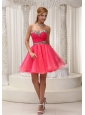 Ruched Bodice and Leopard Coral Red Lovely Prom / Cocktail Dress With Mini-length