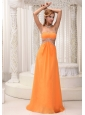 Sexy Orange Empire Prom / Evening Dress Beaded Decorate Bust Chiffon Custom Made
