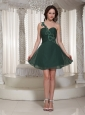 Short Peacock Green Prom / Cocktail Dress With Ruch Bodice One Shoulder Sweetheart