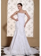 Spaghetti  Straps Mermaid Wedding Dress For 2013 Lace With Beading Decorate Bodice