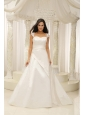 Square Neck Embroidery With Beading On Satin A-line White Low Cost Wedding Dress For 2013