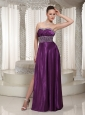 Wholesale Elastic Woven Satin Eggplant Purple Beaded Evening Dress With High Slit