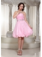 A-line Baby Pink Homecoming Dress With Beaded Decorate