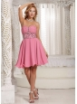A-line Beaded Decorate Rose Pink Stylish Cocktail Dress With Mini-length in Summer