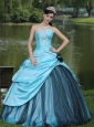 Aqua Blue Taffeta 2013 Quinceanera Dress Custom Made