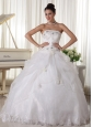 Beaded Over Up Bodice and Pick-up Ball Gown For Custom Quinceanera Dress Organza