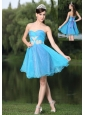 Custom Made Hand Made Beaded Aqua Blue Organza Homecoming Party Dress