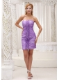 Custom Made Lavender Column Dama Dresses for Quinceanera 2013 Ruched Bodice Mini-length