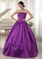 Eggplant Purple Quinceanera Dress For Custom Made Taffeta and Organza Beaded Decorate Strapless