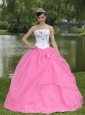 Embroidery Decorate Rose Pink Quinceanera Dress With Strapless Skirt