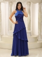 Feather Halter Top and Pleat 2013 Celebrity Dress Royal Blue For Graduation