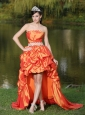 High-Low Orange Red Taffeta Dama Dresses for Quinceanera  With Strapless Lace-up