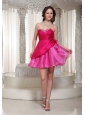 Hot Pink Organza Mini-length Sweetheart For Prom / Cocktail  Dress With Beading Decorate