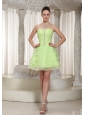Lace-up Yellow Green Beaded Decorate Homecoming Dress With Sweetheart