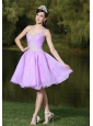 Lavender One Shoulder Prom / Cocktail Dress For Party With Beaded Decorate