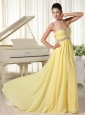 Light Yellow Beaded Decorate Bust and Waist Sweetheart Cheap Homecoming Dress