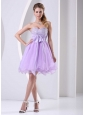 Lilac Sweetheart Beaded Chiffon Sash Short Dress For  Prom / Cocktail Knee-length Organza