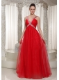 Long Evening Dress With V-neck Red Chiffon 2013