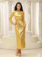 Long Sleeves With Paillette Over Skirt Ankle-length 2013 Mother Of The Bride Dress Custom Made