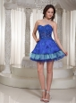 Luxurious Style For Sweetheart Blue Beaded Decorate Prom / Cocktail Dress With Mini-length