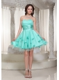 New Turquoise Prom Dress For Cocktail With Flowers Decorate