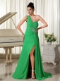 One Shoulder High Slit 2013 Homecoming Dress Spring Green Ruched and Beading Bodice
