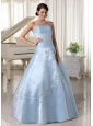 Organza Appliques With Beading Over Skirt Sweetheart Light Blue A-line Quinceanera Dress For Military Ball