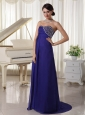 Purple Empire Chiffon Brush Train Custom Made Evening Party Dress With Beading Decorated Sweetheart