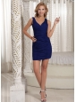 Royal Blue V-neck Sheath Mini-length Ruch 2012 Prom Homecoming Dress