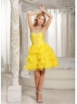 Ruffles A-line Sweetheart Prom / Cocktail Dress Online Yellow Organza With Beading In Oklahoma