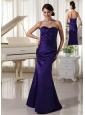Simple Dark Purple Ruch Sweetheart Mother Of The Bride Dress Column Taffeta