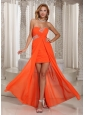 Wholesale High-low Beading Homecoming Dress Orange Red Chiffon Party Style