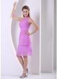 Beaded One Shoulder Chiffon Lavender Knee-length Simple Mother Of The Bride Dress
