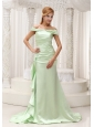 Off The Shoulder Yellow Green Mother Of The Bride Dress For 2013 Taffeta and Brush Train
