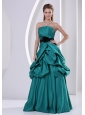 Turquoise A-line Hand Made Flower Belt and Ruch Mother Of The Bride Dress With Pick-ups
