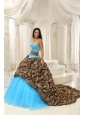 Leopard and Organza Beading Decorate Sweetheart Neckline Exquisite Style For 2013 Quinceanera Dress