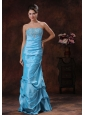 Aqua Blue Mermaid Prom Dress Clearances With Beaded Decorate Bust In Albertville Alabama