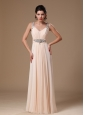 Champagne Chiffon V-neck Empire Beaded Decorate Shoulder Custom Made Prom Gowns In 2013