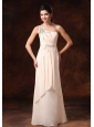Champagne Stylish One Shoulder Empire Chiffon Prom Gowns With Beaded Decorate Shoulder